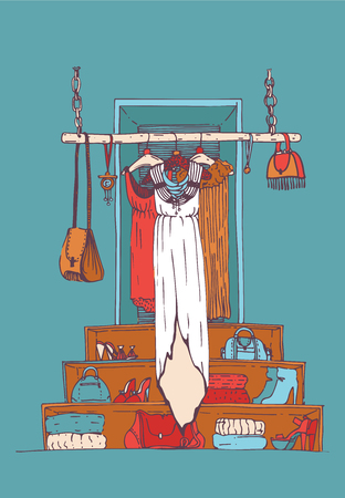 choosing clothes: Vector vertical illustration with white long dress on hanger in blue shop interior. Hand drawn sketch boutique with bags, clothes, accessories on background. Color drawing for fashion and design. Illustration