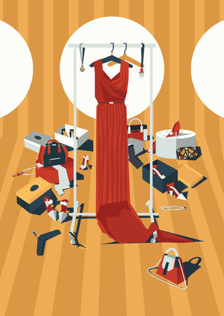 Vector vertical color fashion illustration with long red dress on hangers, drawn in mess of accessories, bags and shoes in geometric style. Creative interior design, good for shop and boutique Illustration