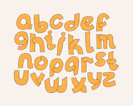 Bright vector alphabet. Hand drawn font decorated with hatching written in yellow solid color. Educative illustration typography set, good for lettering, writing and titles. Lowercase letters group. Illustration