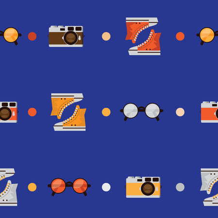youngster: Seamless pattern with color sneakers, round shaped glasses and retro photo camera. Vector seamless design decorated with circles on blue background. Stylish simple illustration.