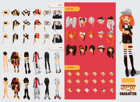 Constructor with spare parts for lovely visual kei girl. Different hairstyles, emotions, accessories, posing for hands and legs positions. Creative collection with subculture lolly style, gothic. Illustration