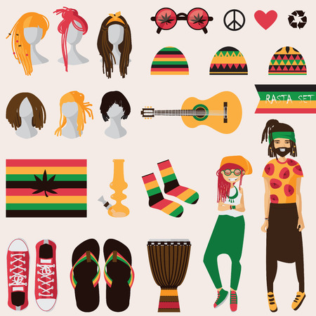 Rastafarian subculture. Couple of young rastaman woman and man with dreadlocks in rasta clothes, set of different objects isolated on background sneakers, bong, guitar, hairstyles for her and him Illustration