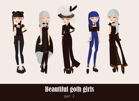 Vector set with isolated on background gothic girls. Goth clothes in dark colors, with different accessories, various hairstyle and posing. Serious characters.