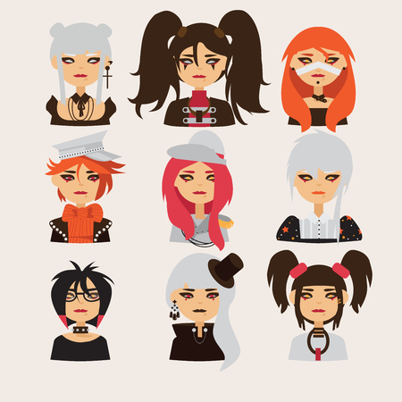 Vector set with lovely visual kei girls characters. Heads with different hairstyle, color and accessories. good for cosplay avatars and japanese related characters. Illustration