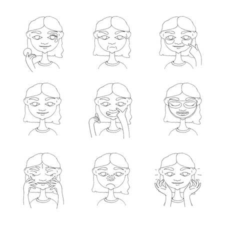 Beauty regimen instruction illustration. Illustration