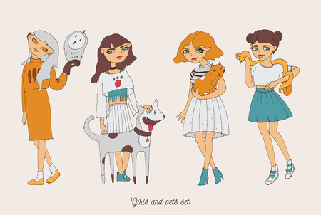 Hand drawn girls characters with cute pets as dog, cat, snake and owl. Home lovely pets with loving owners. Pets and owners are similar to each other Illustration