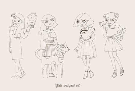 Hand drawn girls characters with cute pets as dog, cat, snake and owl. Home lovely pets with loving owners. Pets and owners are similar to each other in outline doodle style