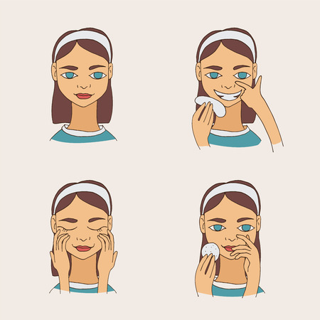 Set with lovely cartoon young brunette woman taking care of her skin and face. Vector collection. Illustration
