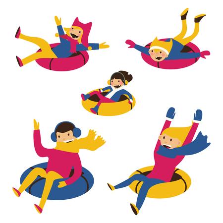 vector set avec famille heureuse sur des tubes de neige isolé sur des personnages de bande dessinée . dessins animés dans des couleurs vives et le style de dessin animé plat