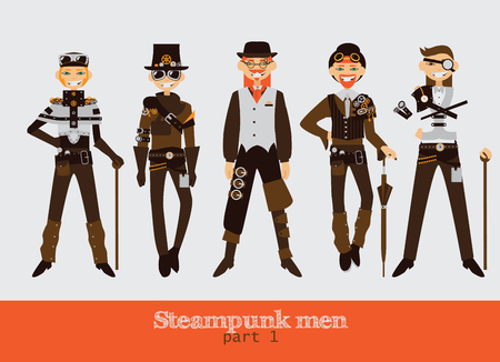 Vector set with steampunk man cartoon flat characters.