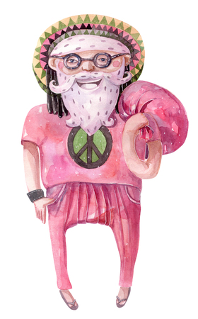 rasta hat: Large raster illustration with hand drawn lovely rastafarian Santa Claus, drawn with brush and watercolor Stock Photo