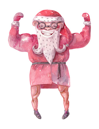 Large raster illustration with hand drawn lovely bodybuilder Santa Claus, drawn with brush and watercolor with broad shoulders and large muscles.