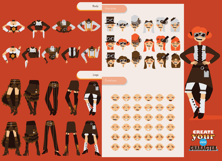 Vector set collection for creation cute female steampunk character. Young girl with various emotions, clothes style and accessories.