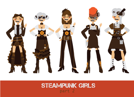 steampunk goggles: Vector set with steampunk man cartoon flat characters.