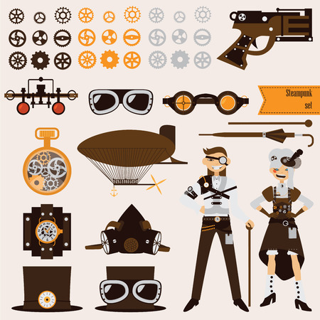 6f892c75596 Steampunk objects and characters set. Airship and goggles