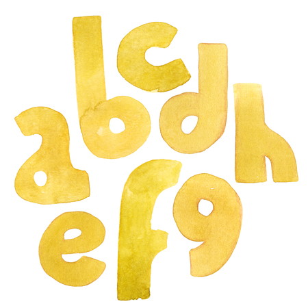 Large grainy watercolor bright letters. Bold alphabet sequence from A to H. Bright yellow font.