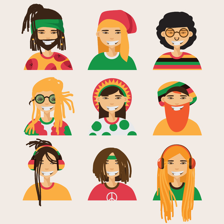 Set with vector rastafarian men, isolated on background. Lovely flat cartoon characters in bright colors Illustration