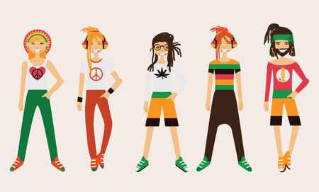 Vector rastafarian man character. Spare body parts in various clothes, different emotions set, rasta dreadlocks of different hairstyle. Illustration