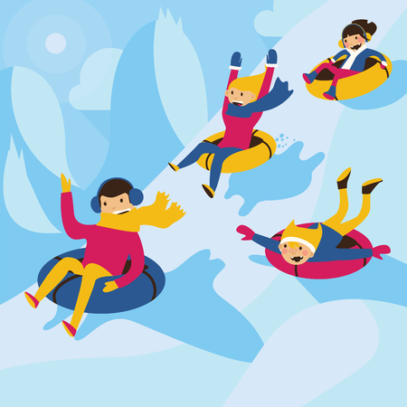Square vector illustration. Happy family tubing down the hill. Excited mom and dad, lovely kids