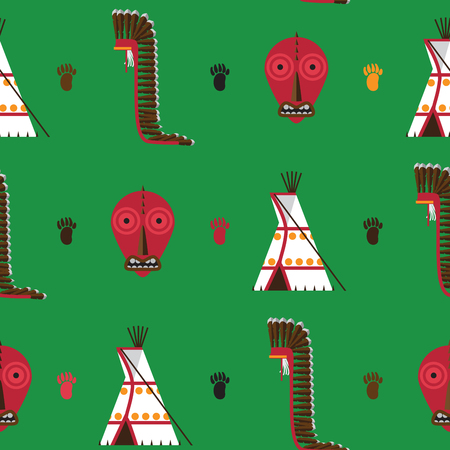 Seamless pattern with bright green background. American native Indians house ware as tepee, false face mask and war bonnet drawn in flat style. Illustration