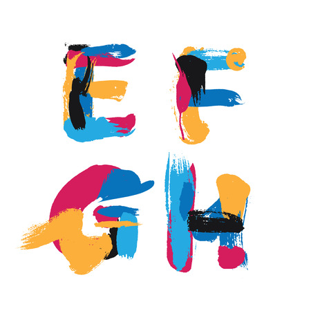 Hand drawn ink brush strokes alphabet letters E, F, G and H.
