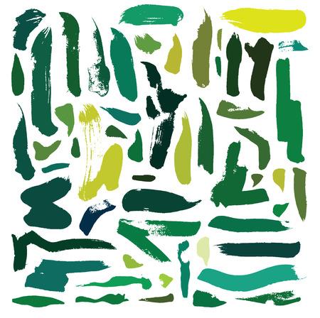 Set of hand drawn green brush blobs and strokes. Illustration