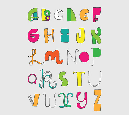 Bright letters sequence from A to Z. Bright english font in hand drawn freehand and various shape style. Illustration