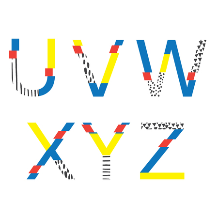 Vector set with abc letters U, V, W, X, Y and z in geometry style with glitch and hand drawn elements. Bright graphic font for education, logo and lettering.