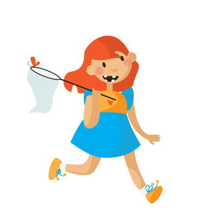 skip: Little girl running in a bright dress with scoop-net and butterfly.