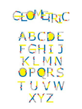 Vector set with abc letters sequence from A to Z in geometry style with glitch and hand drawn elements. Bright graphic font for education, logo and lettering. Illustration