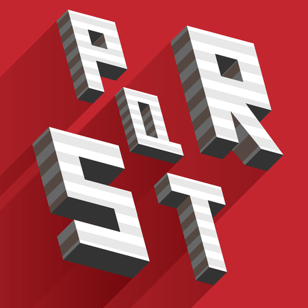 Isometric letters P Q R S T drawn with stripes and fallen shadows on red background.