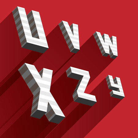 Isometric letters U V W X Y Z drawn with stripes and fallen shadows on red background. Ilustrace