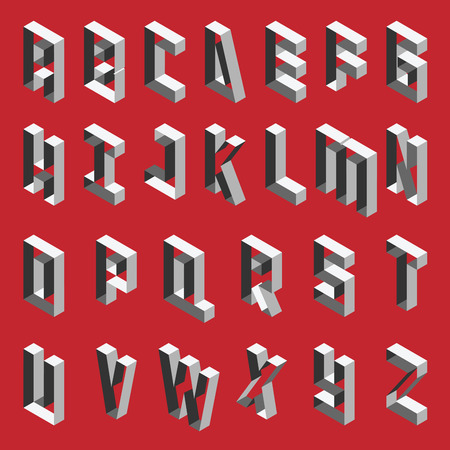 Isometric hollow letters in shades of grey. Vector collection for writing quotes and lettering. English alphabet sequence.