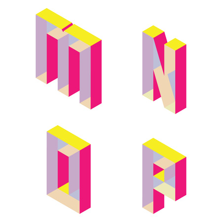 Bright isometric font with transparent parts. English letters M N O P isolated on white good for lettering and design.