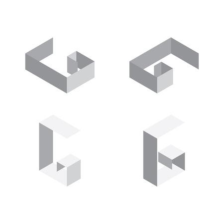 Vector isometric letters G in various foreshortening views. Edge outline alphabet.