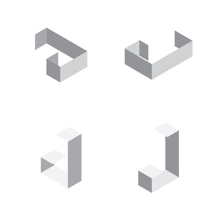 Vector isometric letters J in various foreshortening views. Edge outline alphabet.