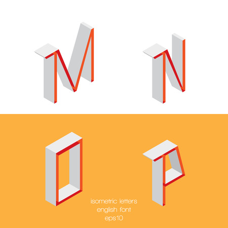 Set of vector isometry letters M N O P. Font part, good for lettering and writing quotes. Ilustração