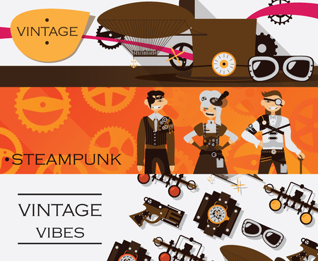 Vector set with horizontal banners dedicated to vintage, retro and steampunk antique. Goggles and dirigible, lovely characters.