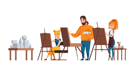 Isolated on white background characters drawing still life with easel. Adult painting at workshop for adults. Vector flat illustration.
