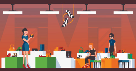 Woman shoes shop. Flat vector illustration with girls choosing shoes and bags. Interior of shop with buyers and beautiful goods for sell.