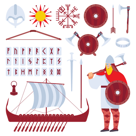 Set with viking character and medieval history longship, sward, helmet, runes, accessories, cultural symbols. Vector isolated on white collection.