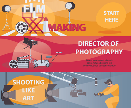 Vector horizontal banners about filming and cinema. Banner with film making stuff, director of photography, acting. Set of designs.