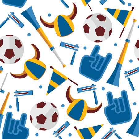 Vector seamless pattern about football fan and accessories as cheerleader glove, hat with horns, ratchet and vuvuzela Stock Illustratie