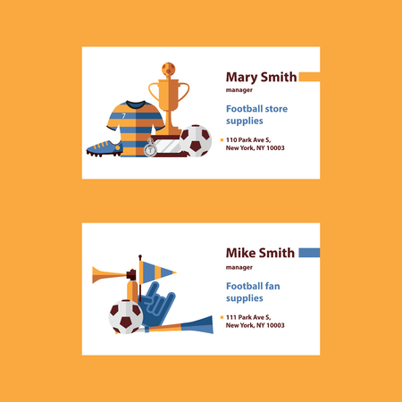 Vector set with football business cards template desorated with soccer suplies as ball, cup, boots, sports wear and fan accessories like cheerleader glove, vuvuzela, flag on white background