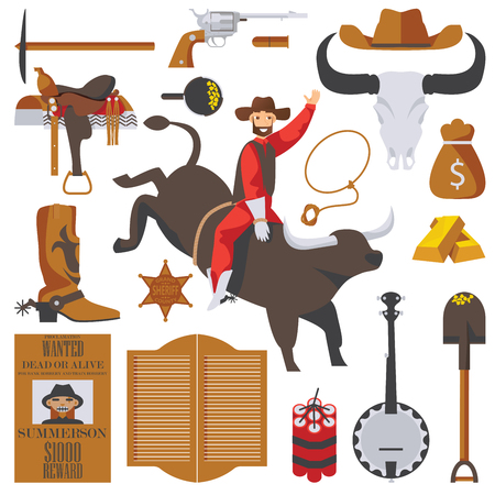 Vector collection of wild west objects isolated on white. Man on bull in rodeo, gold rush accessories, saloon door, wanted dead or alive poster, good for cowboy and western design Иллюстрация