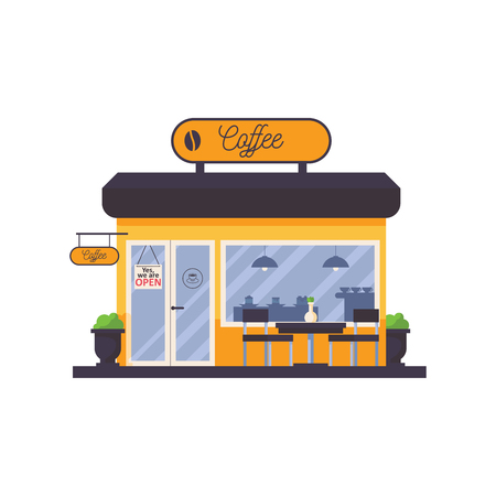 Outdoor scene with coffee shop storefront facade. Cafe with signboard on top, table and chairs in front, flower pot by side. Vector isolated on white house in yellow color, good for city scene element Ilustração