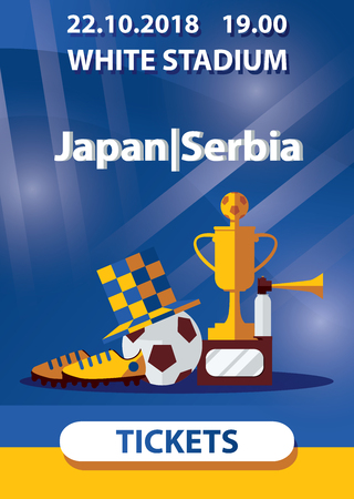 Vector poster dedicated to soccer football match in yellow and blue colors. Winner cup, soccer ball, player boots and fan hat in center of booklet.