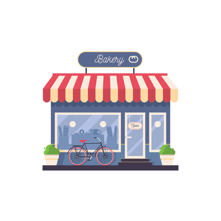 Isolated on white vector bakery shop storefront. Facade with greenery, bike, with striped rooftop and wilh silhouettes of baking in window. Illustration