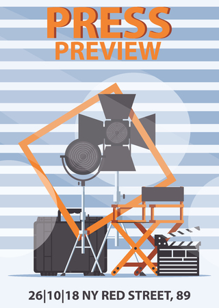 Vector vertical poster template with cinematography director chair, spotlights, clapboard and place for text. Striped background good for cinema festival and print Illustration
