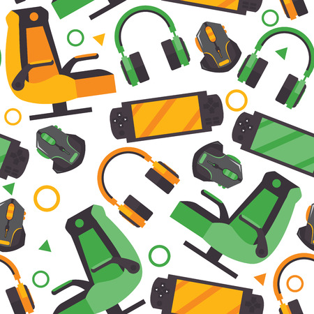 Seamless pattern with video game accessories like gamer chair, headphones, gamepad, mouse on white background. Vector repeat design for print and game expo. 矢量图像